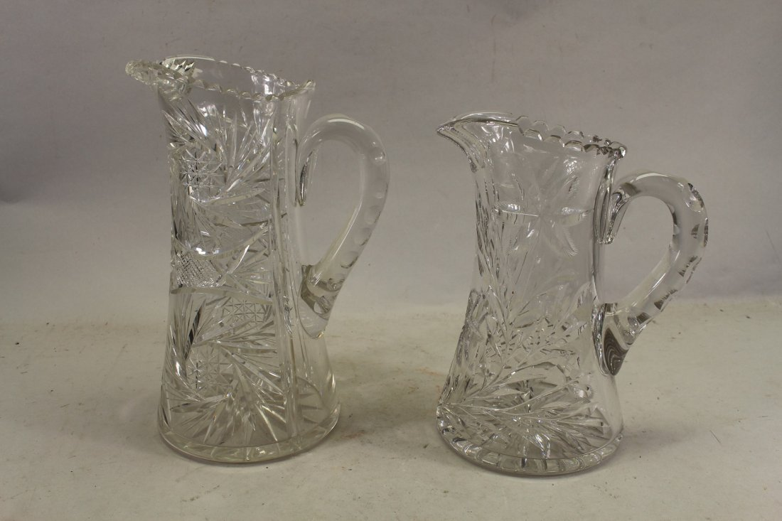 (2) Large American Cut Glass Pitchers