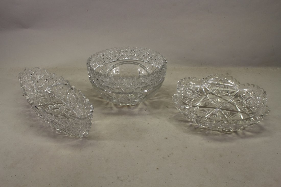 (3) Vintage Cut Glass Serving Dishes