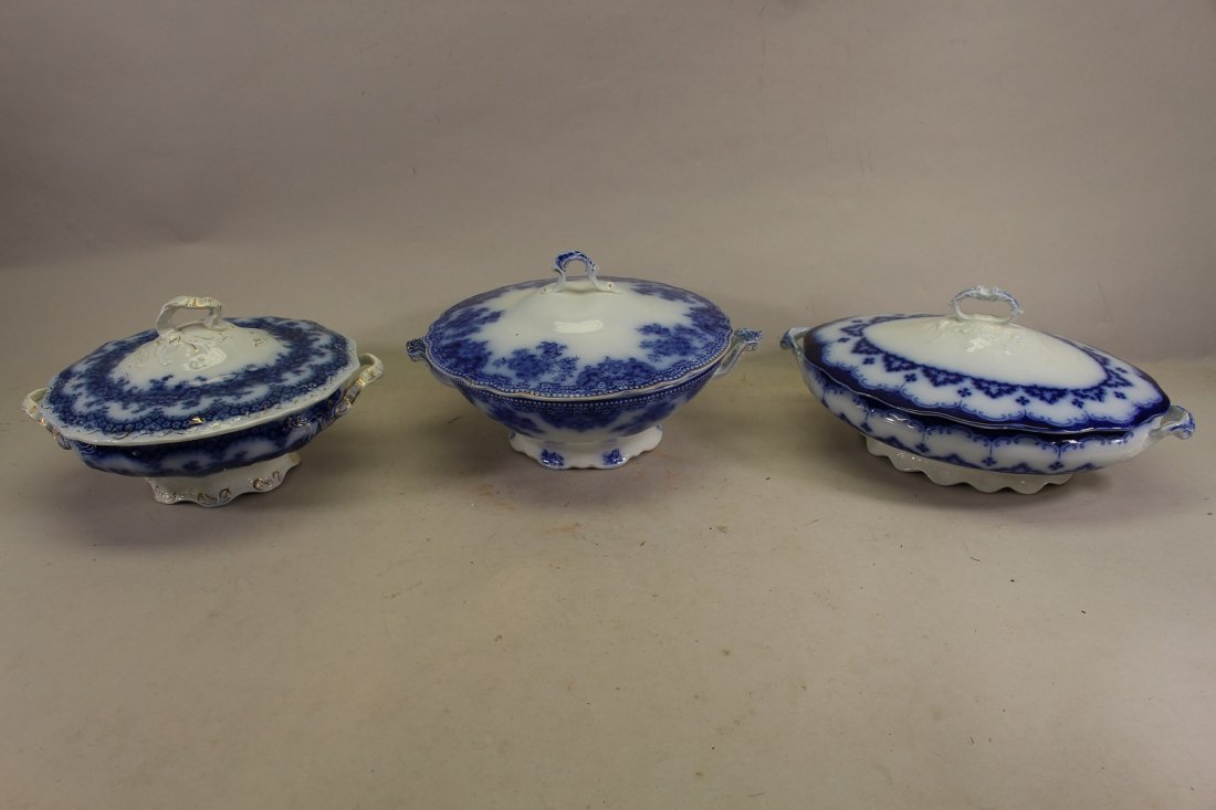 (3) Flow Blue Covered Vegetable Dishes.