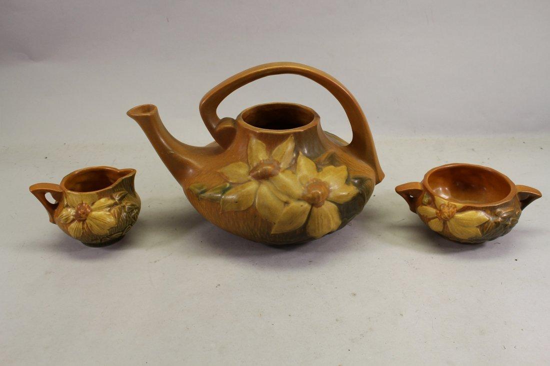 Roseville Clematis Teapot, Sugar & Creamer