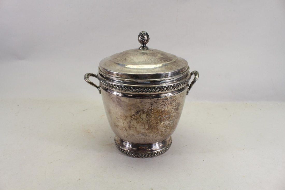 Silverplate Ice Bucket w/ Glass Inset