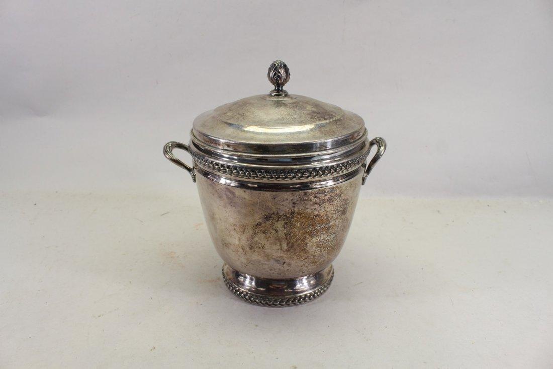 Silverplate Ice Bucket w/ Glass Inset