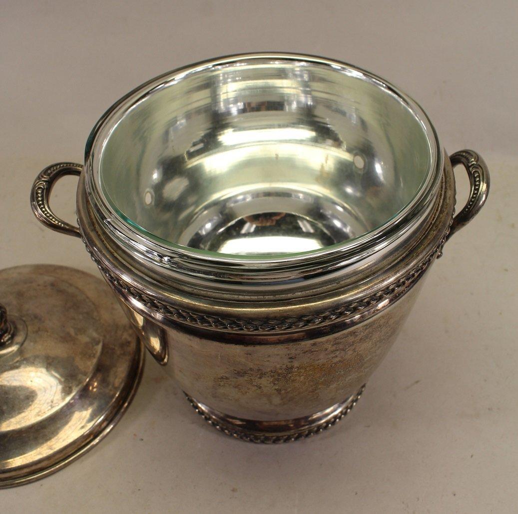 Silverplate Ice Bucket w/ Glass Inset - 2