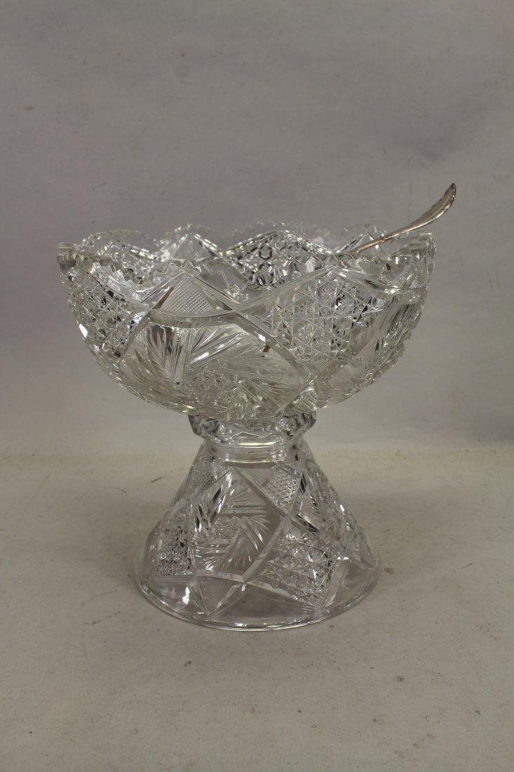 Vintage Brilliant Cut Glass Punch Bowl/ Pedestal