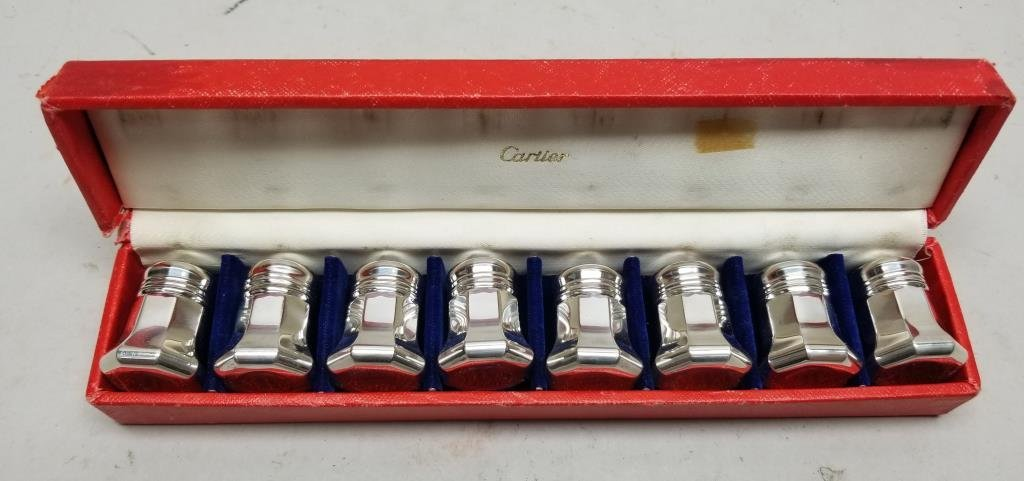 (8) Sterling Silver Cartier Salt/Pepper Shakers