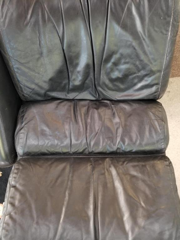 "1960s Yrjo Kukkapuro ""Saturn"" Black Leather Couch - 2"