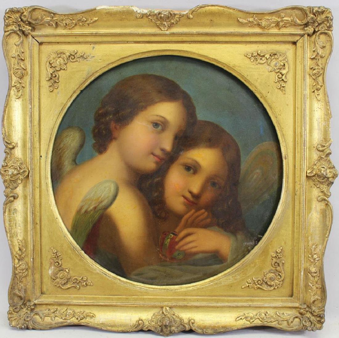 Manner of Raphael Painting of Two Cherubic Figures