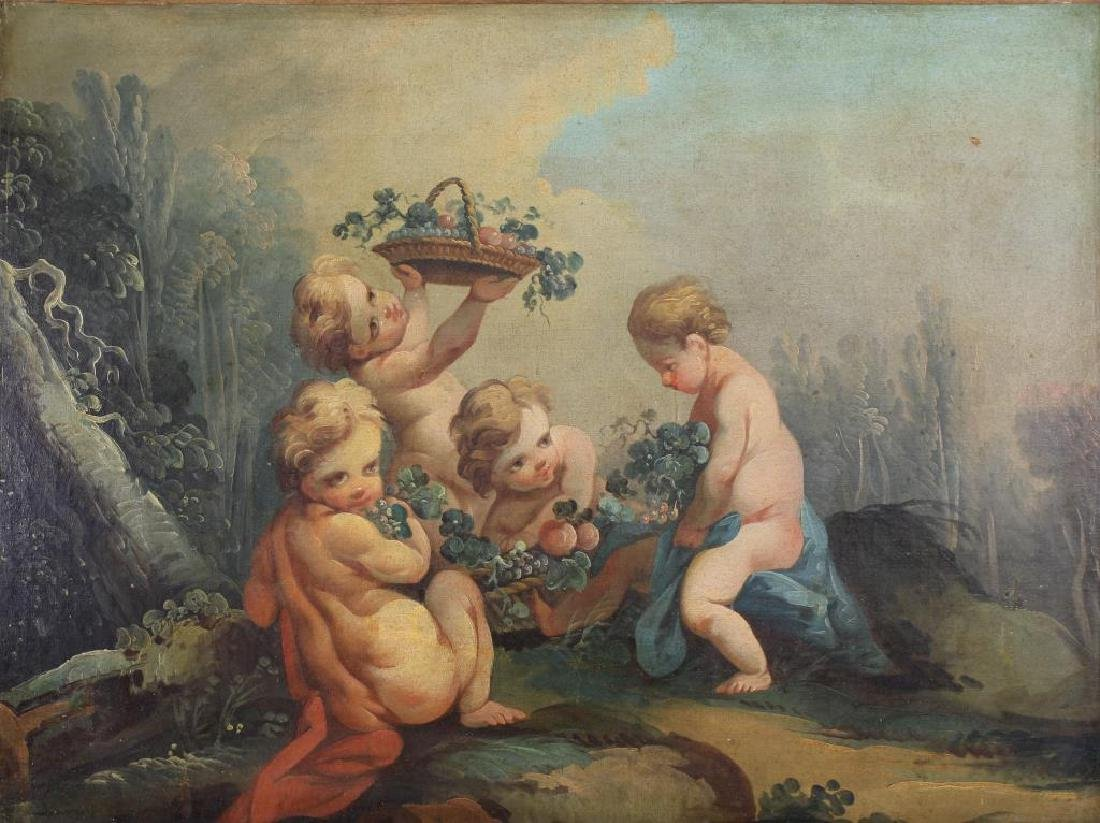 19th C. Painting of Cherubic Figures in Landscape