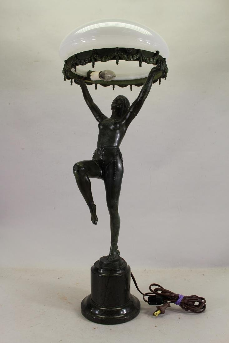 Bronze Art Deco Figural Lamp