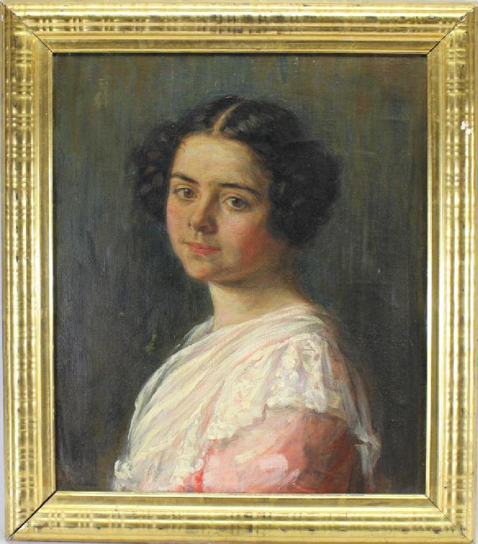 American School, Antique Portrait of Young Woman