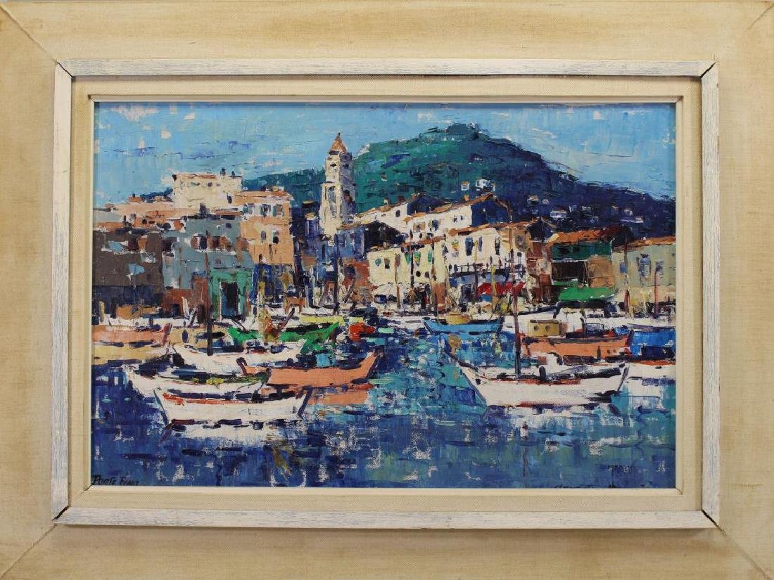Signed, 20th C. Painting of Portofino Italy