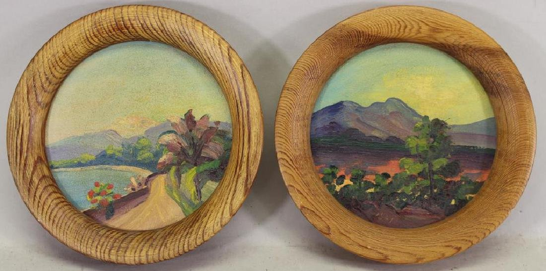 (2) 'Isai', 20th C. Oval Landscapes