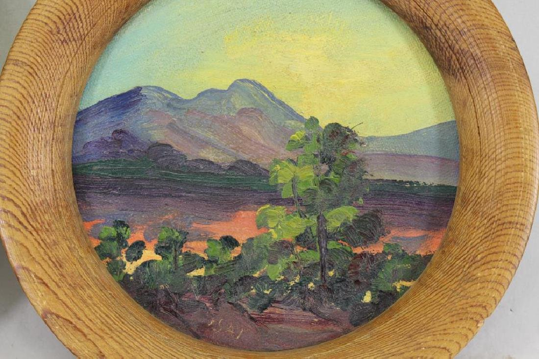 (2) 'Isai', 20th C. Oval Landscapes - 2