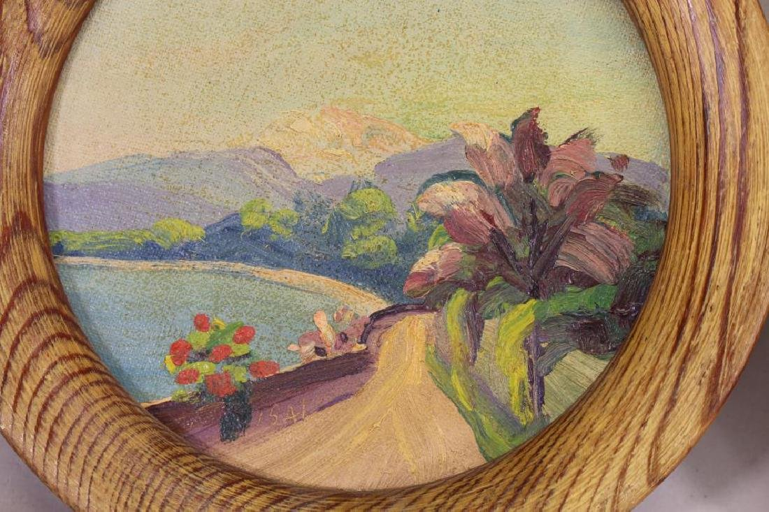 (2) 'Isai', 20th C. Oval Landscapes - 3