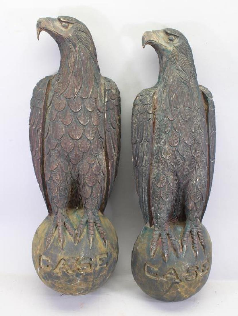 (2) Antique Wooden Carved Eagles on Sphere