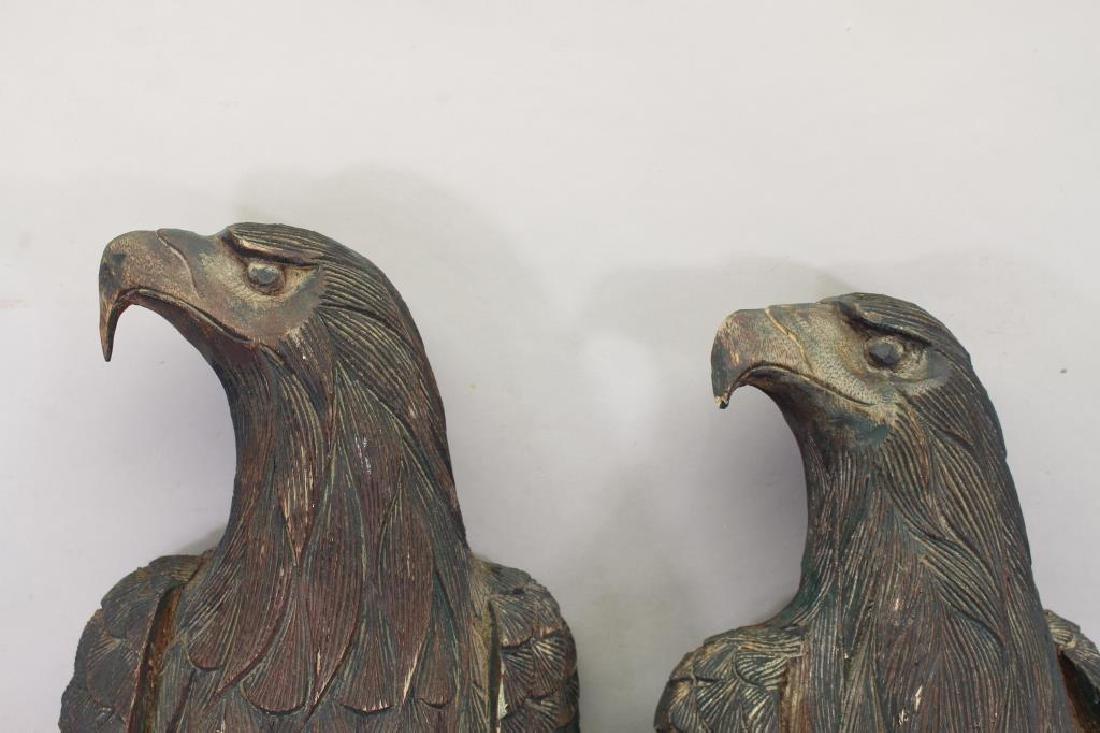 (2) Antique Carved Wood Case Eagle Emblems - 2