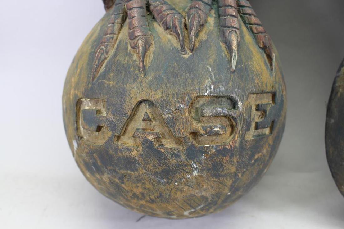 (2) Antique Carved Wood Case Eagle Emblems - 3
