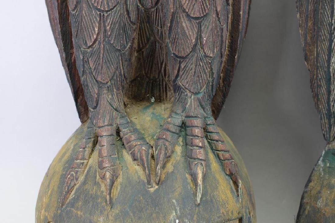 (2) Antique Carved Wood Case Eagle Emblems - 4