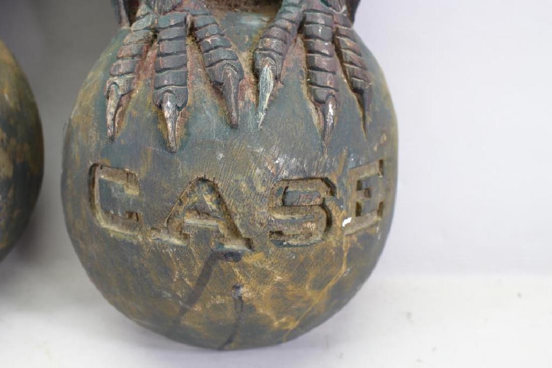 (2) Antique Carved Wood Case Eagle Emblems - 5