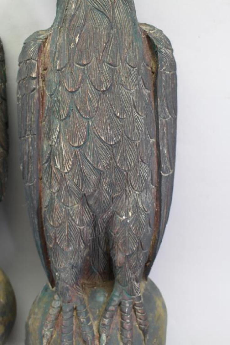 (2) Antique Carved Wood Case Eagle Emblems - 6