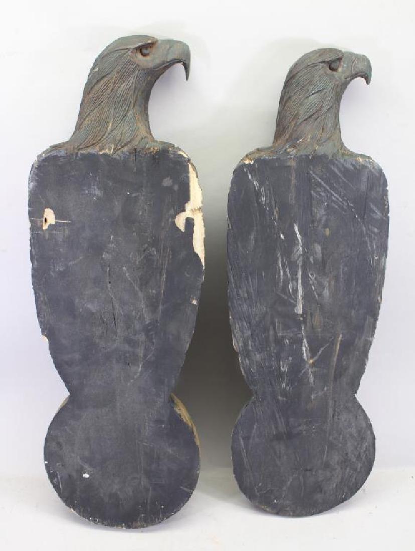 (2) Antique Carved Wood Case Eagle Emblems - 7