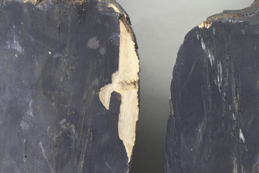 (2) Antique Carved Wood Case Eagle Emblems - 8