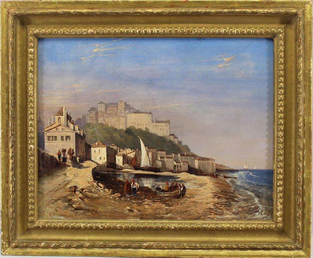 English School, 19th C Coastal Scene w/ Figures
