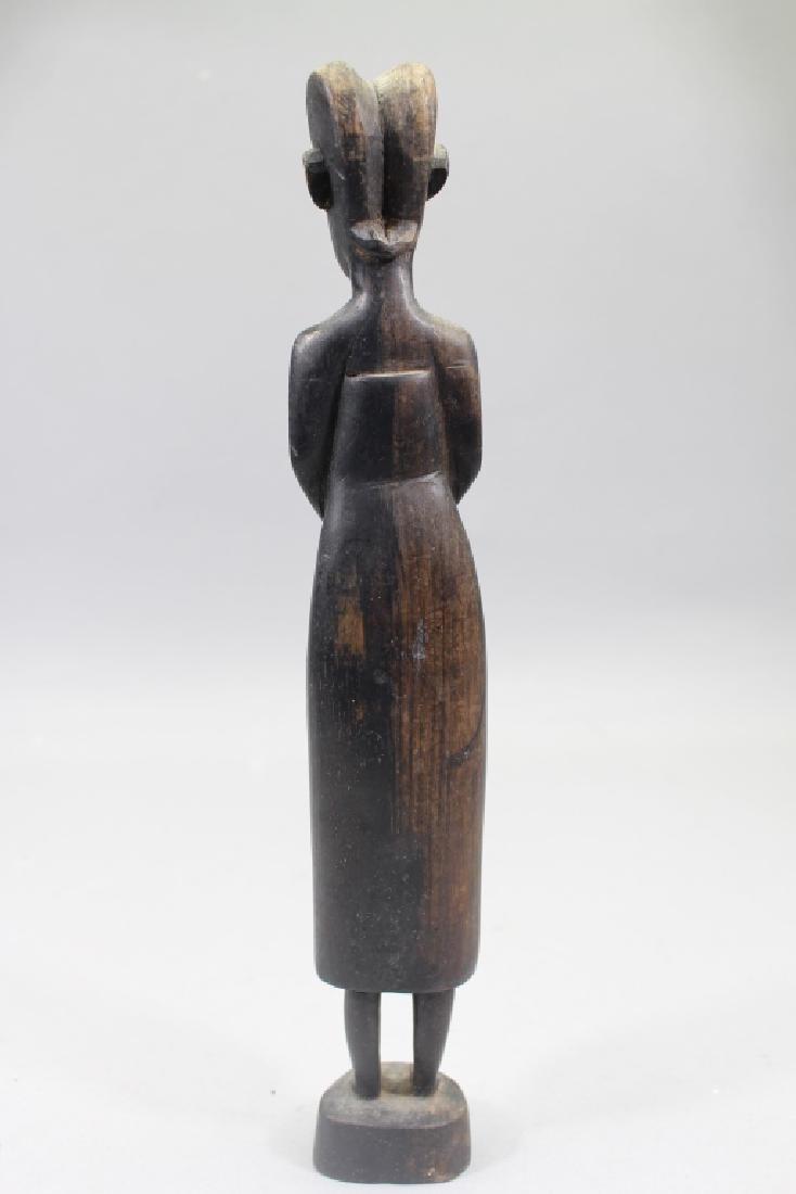 Antique Carved African Baule Woman Figure - 4