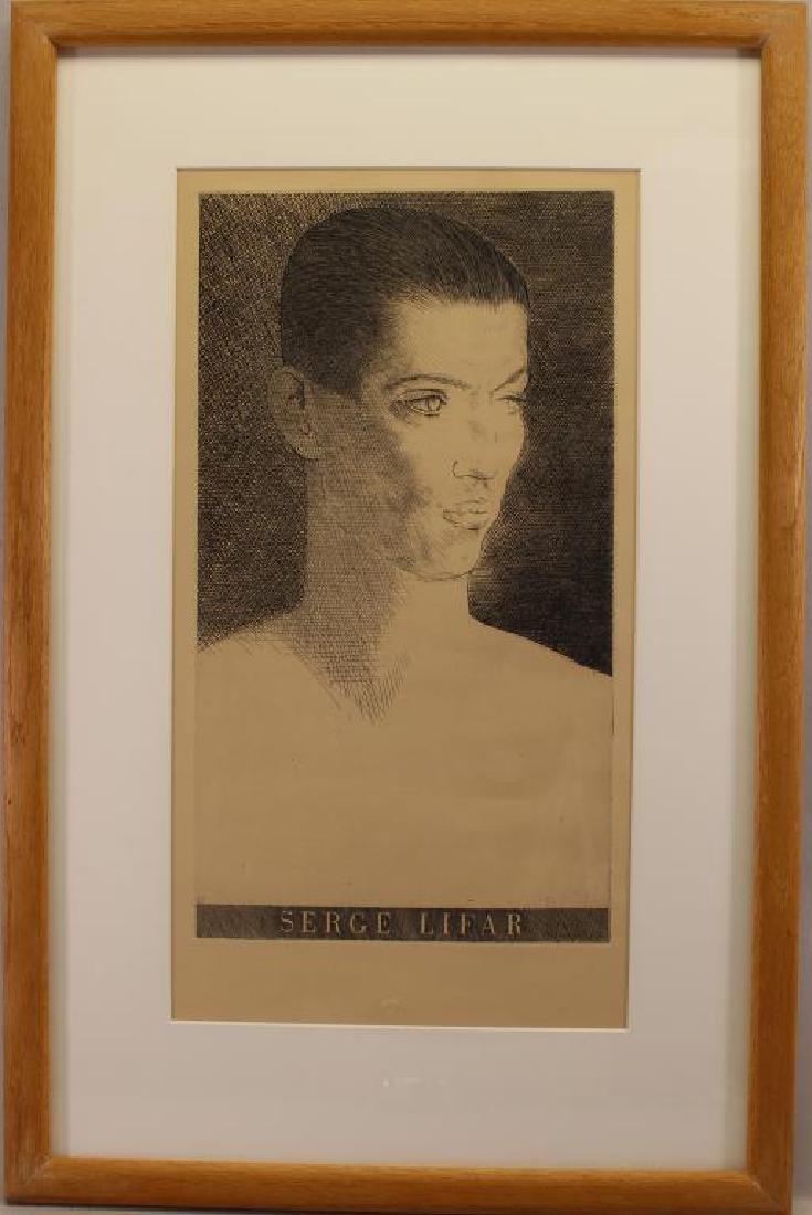 Framed Etching of Serge Lifar, Museum Embossed