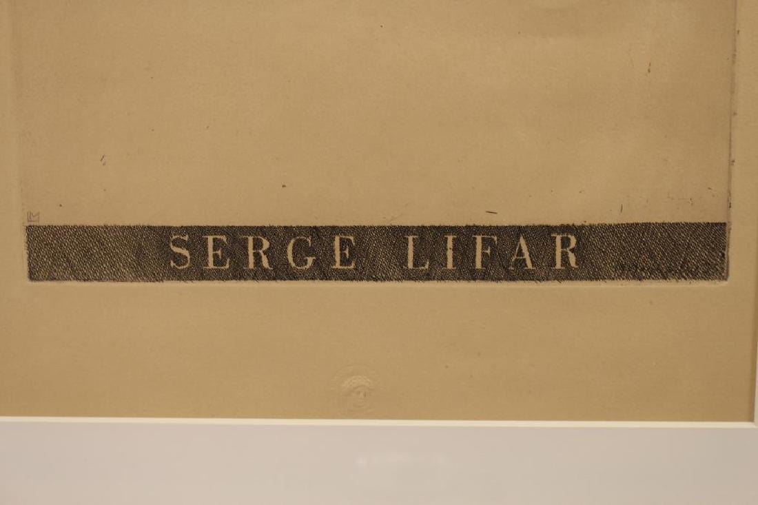 Framed Etching of Serge Lifar, Museum Embossed - 2