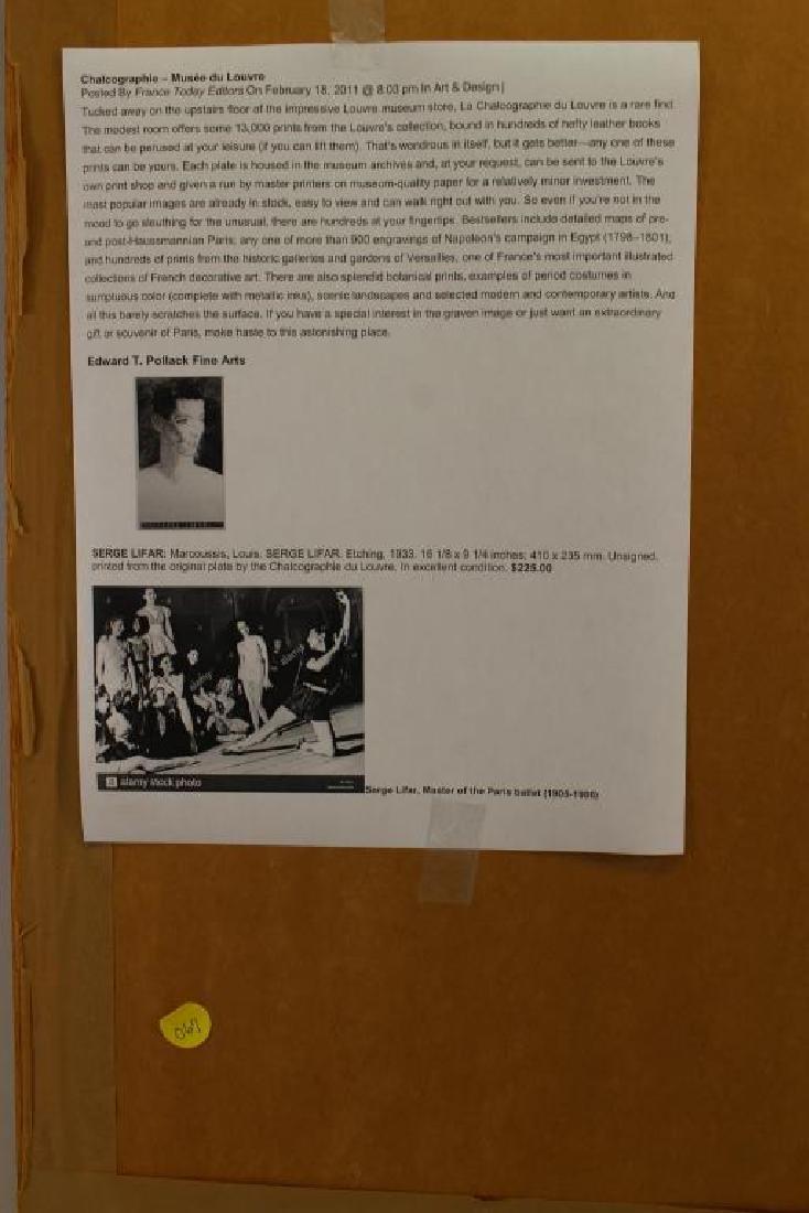 Framed Etching of Serge Lifar, Museum Embossed - 4