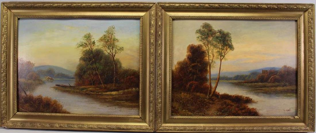 T. Wood (UK, 19th C) Pair of English Landscapes