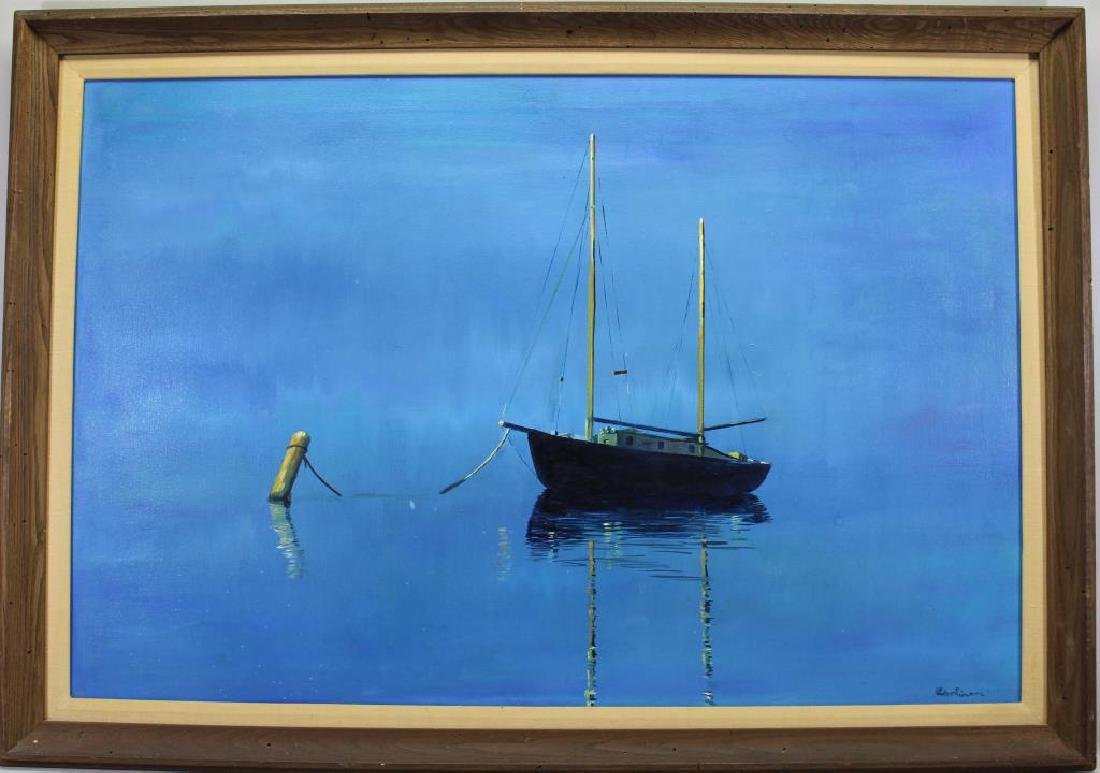 Signed, American School Painting of a Boat at Sea