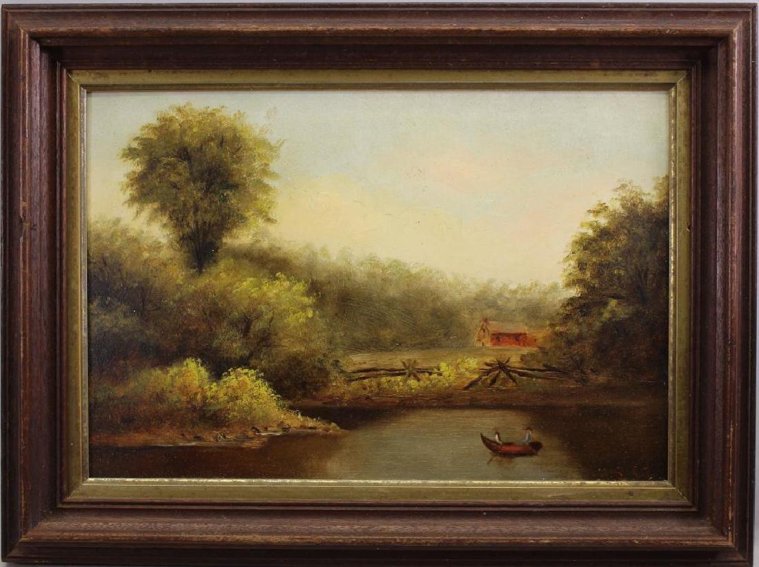 19th C. English School, Figure Rowing