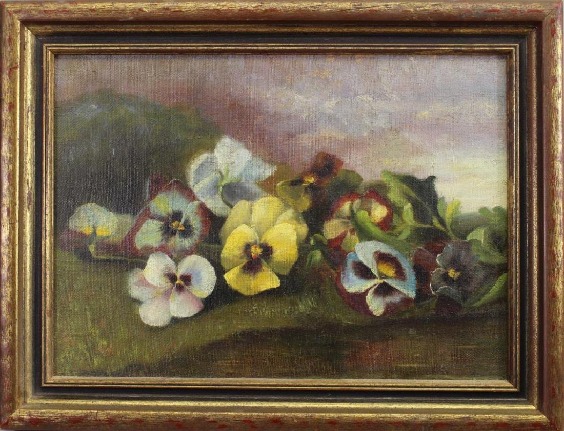 19th C. American School Still Life, Pansies