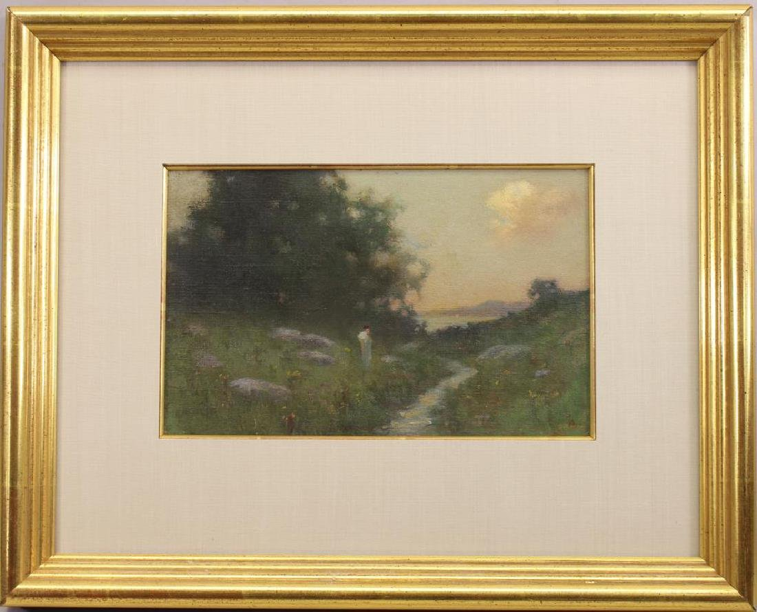 American School Figure in a Landscape. Monogrammed