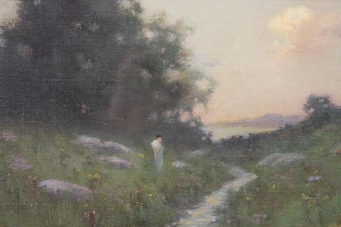 American School Figure in a Landscape. Monogrammed - 2