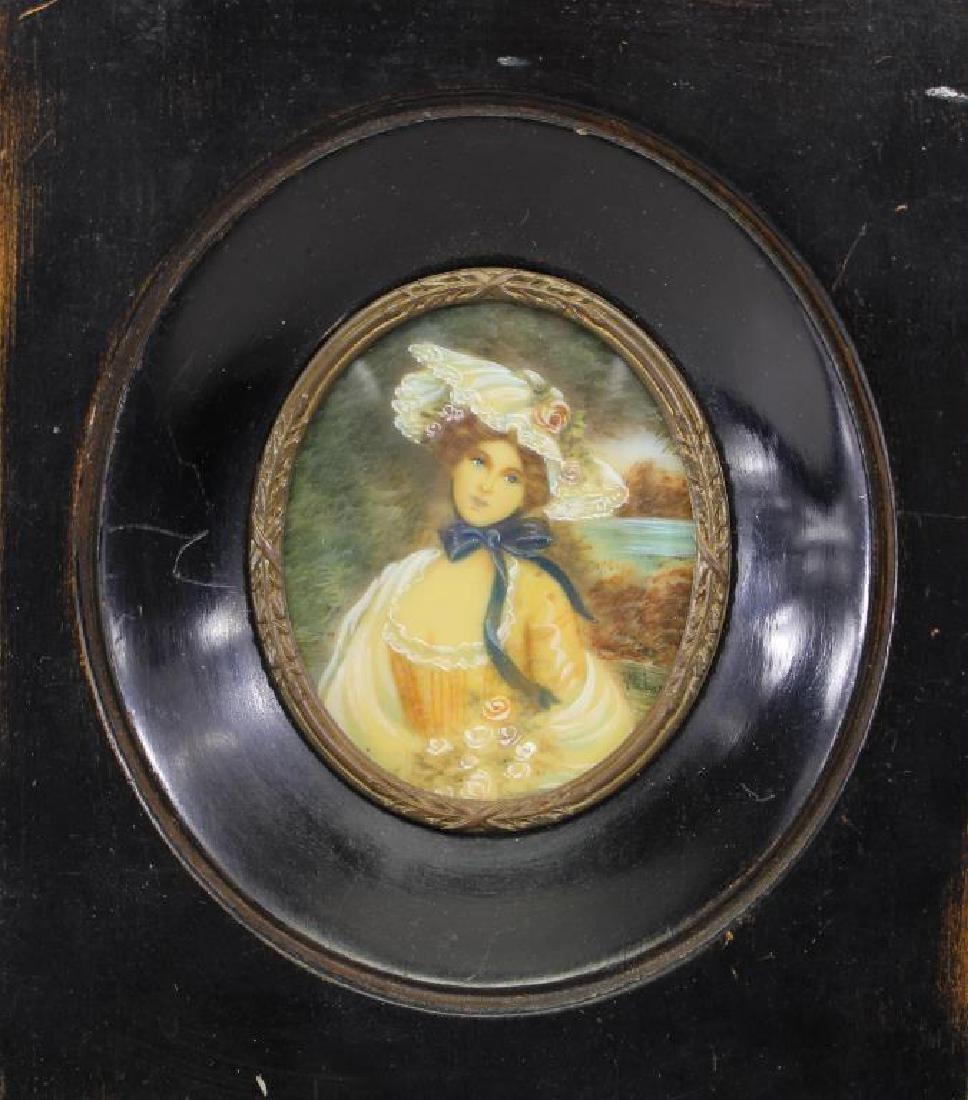 Signed, Miniature Portrait of Blue Eyed Woman