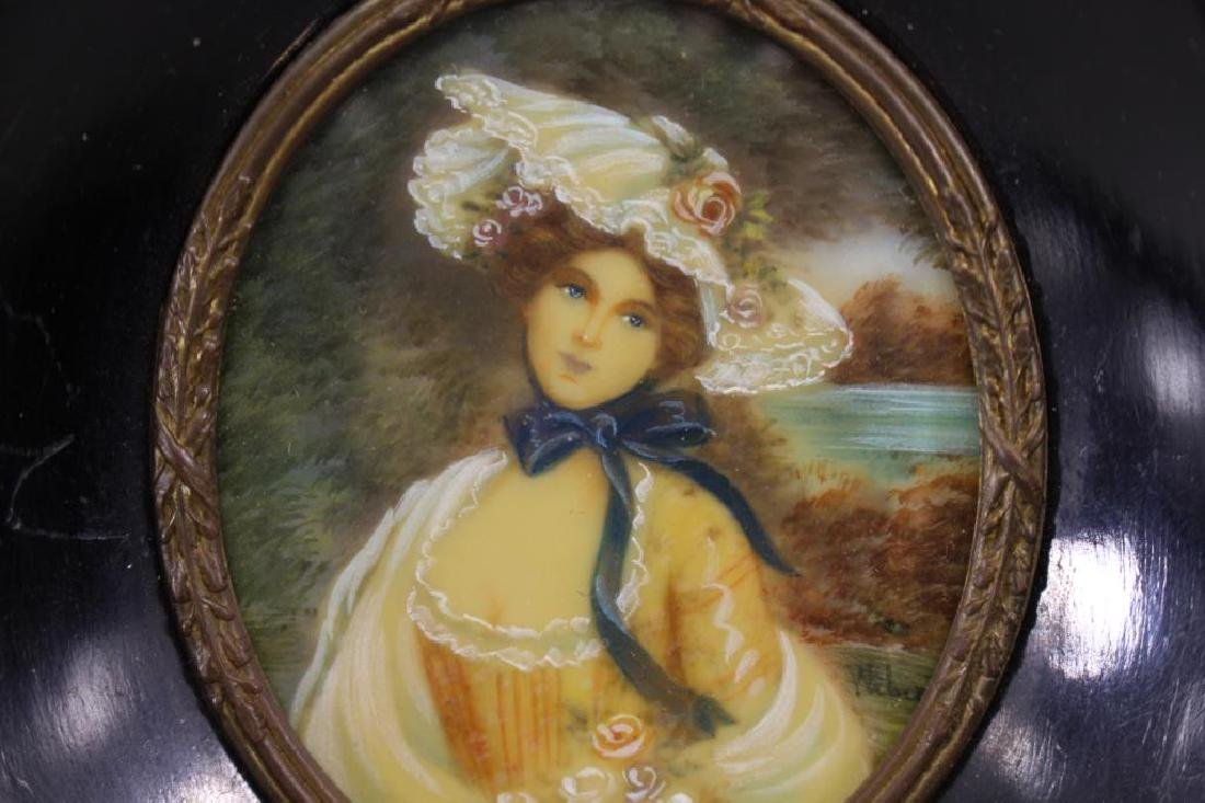 Signed, Miniature Portrait of Blue Eyed Woman - 2