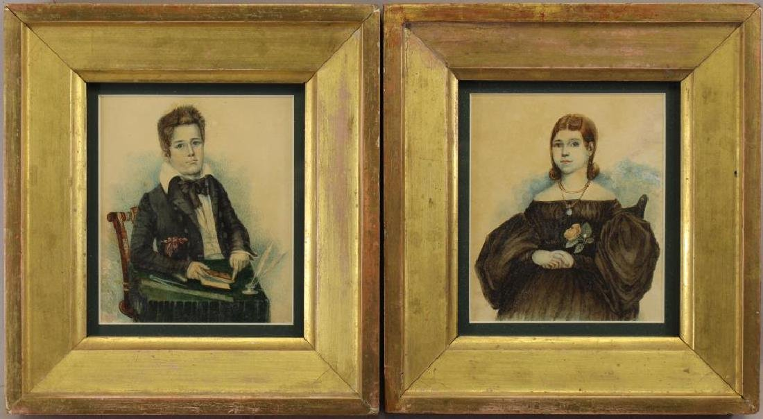 (2) 19th C. Portraits, Young Brother & Sister
