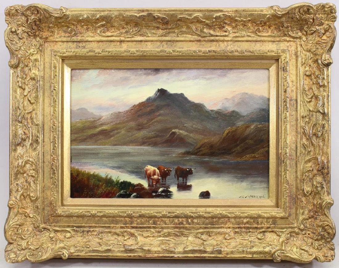Signed, English School Cows in a Highland Scene