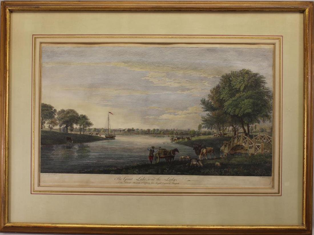 """The Great Lake Near the Lodge"" Colored Engraving"