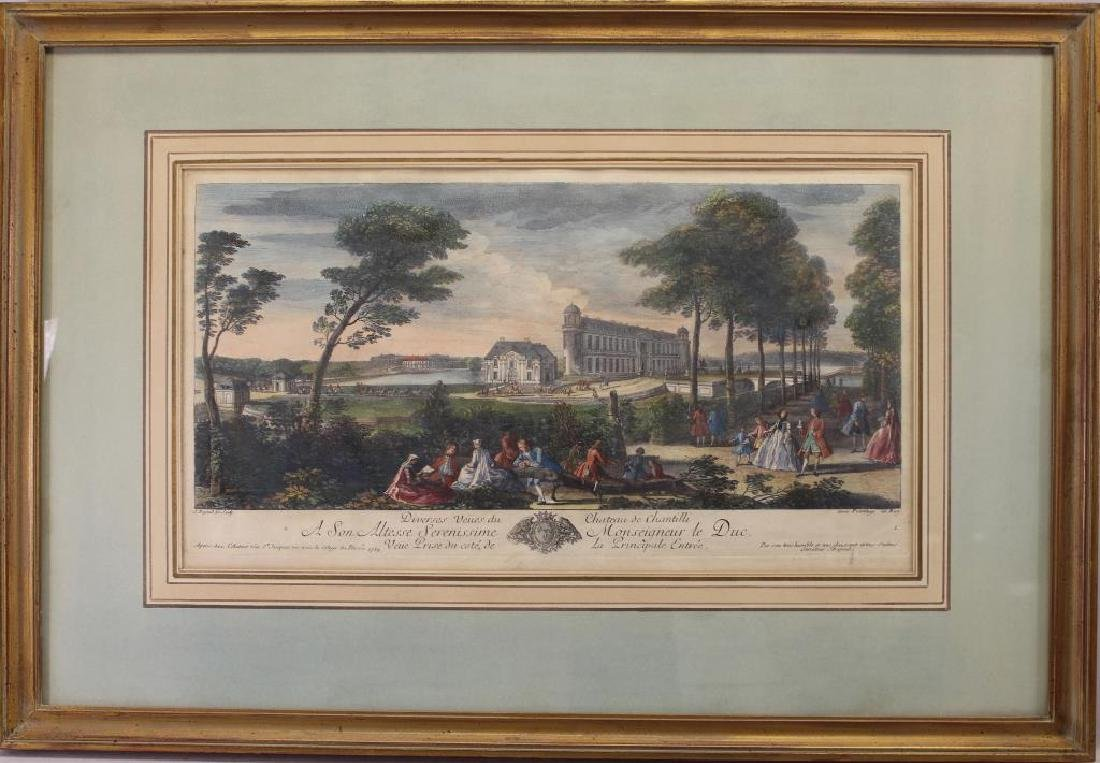 Hand Colored Engraving of Chateau De Chantilli