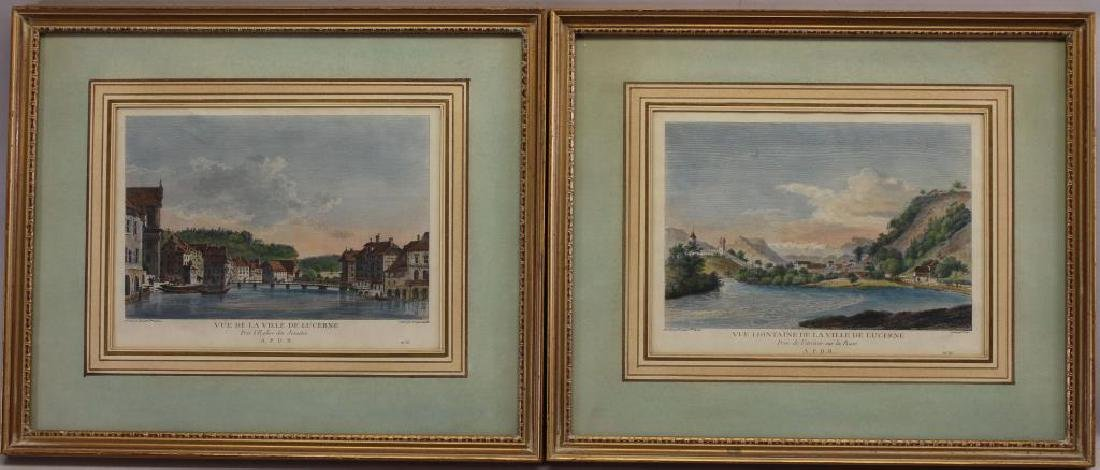 (2) Antique Hand Colored Engravings of Lucerne