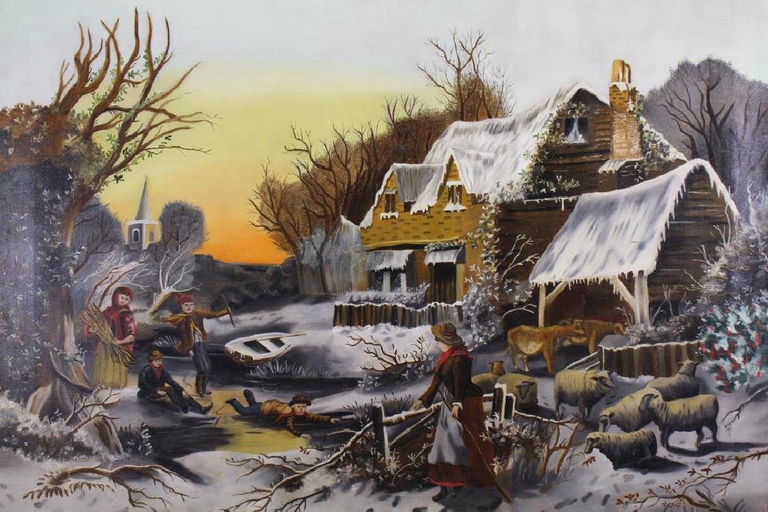 Dutch School, Early 20th C. Winter Landscape