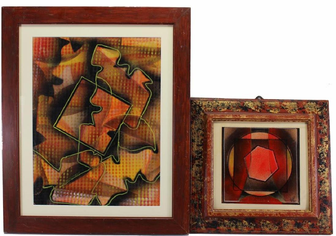 (2) Russian School Abstract Composition Paintings
