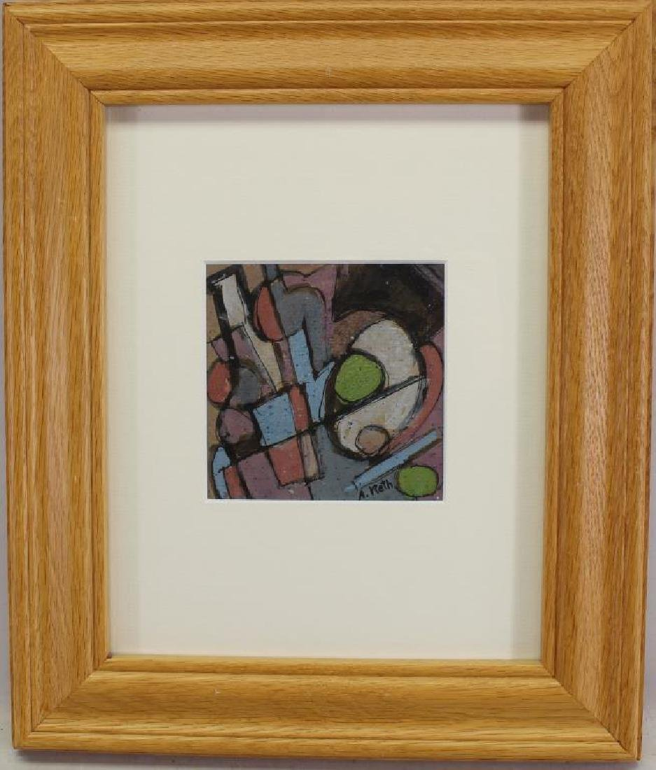 French School, Signed Abstract Mixed Media