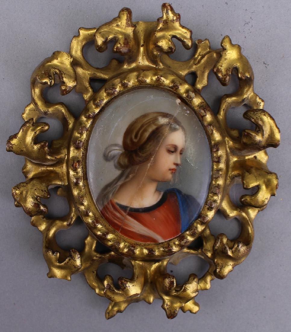 19th C. Portrait of Woman on Porcelain