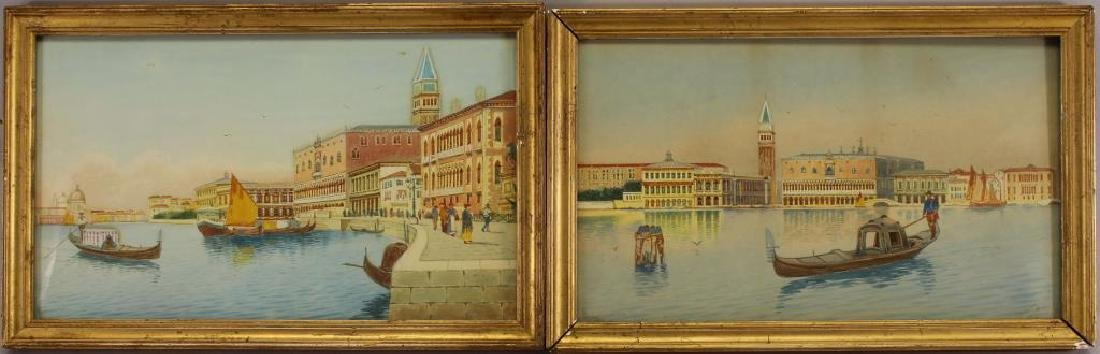 (2) European School Views of Venice Italy, Signed