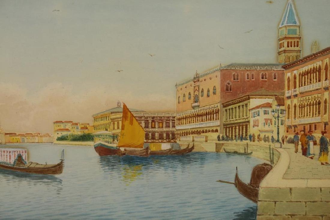 (2) European School Views of Venice Italy, Signed - 2